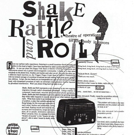 Extrait du script de Shake, Rattle, Roll © Gregory Whitehead